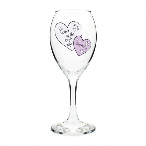 Personalised Butterfly Hearts Wedding Wine Glass